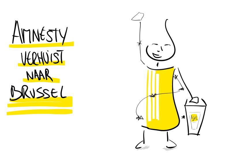 Amnesty verhuist naar Brussel, een illustratie van mij die het proces verzachtte